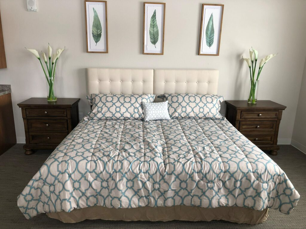 Queen bed in one of our Companion Suites.